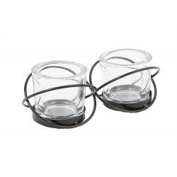 ENTWINED - Pots en verre  par 2+ support fer L18 x P7,5 x H6 cm