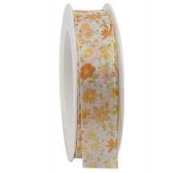 FLEURS - Ruban taffetas imprimé Orange 25 mm x 20 m