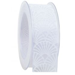 ART DECO - Ruban taffetas imprimé Blanc 40 mm x 20 m