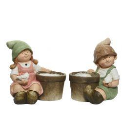 KIDS - Cache-pots Enfants Céramique Assortis L32 x P32 x H39cm par 2
