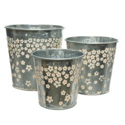 DAISY - Zinc Cache-pots ronds Motifs fleurs Rose D14 x H14 cm par 3