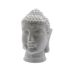 BOUDDHA - Tête Bouddha Terre cuite Grise D20 x H30cm