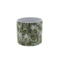 JUNGLE - Cache-pot Paon D13,8 x H12,5 cm