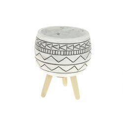 WANA - Cache-pot ethnic sur pieds Céramique Noir D9,5 x H13 cm