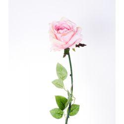 ROSA - Rose 3 Feuilles H73 cm Rose