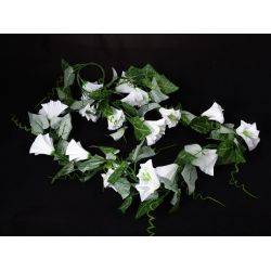 Couronne de Liseron 16 feuilles Blanc L160 cm