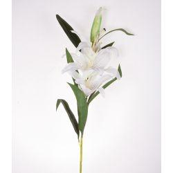 Fleur sur tige Lys tigré 3 fleurs 11 feuilles Blanc H101 cm