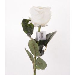REAL TOUCH - Rose 10 Feuilles H57 cm blanc