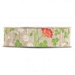 PAPAVERI - Ruban Tissu Fleurs Gris 25 mm x 20 m