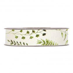 HERBES - Ruban Tissu Blanc motifs herbes 25 mm x 15 m