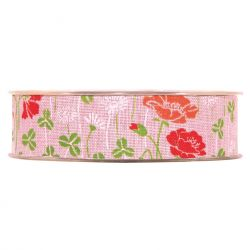 PAPAVERI - Ruban Tissu Fleurs Rose 25 mm x 20 m