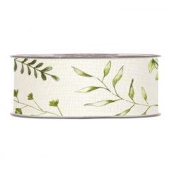 HERBES - Ruban Tissu Blanc motifs herbes 40 mm x 15 m