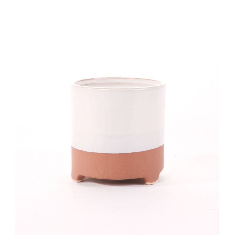 LUSY - Céramique Cache-pot Blanc/Rose D13 x H13 cm