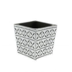 SPRING - Cache-pot carré Céramique Blanc motifs L11 x P11 x H10.5 cm