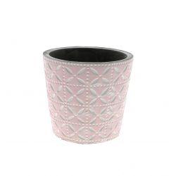 SPRING - Cache-pot rond Céramique Rose à motifs D13.7 x H12.5 cm