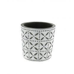 SPRING - Cache-pot rond Céramique Blanc à motifs D11 x H10,5 cm par 6