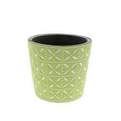 SPRING - Cache-pot rond Céramique Vert à motifs D13.7 x H12.5 cm par6