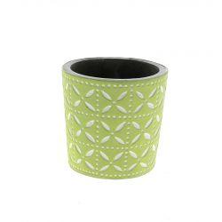 SPRING - Cache-pot rond Céramique Vert à motifs D11 x H10,5 cm par 6