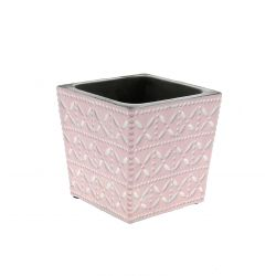 SPRING - Cache-pot carré Céramique Rose à motifs L11xP11x H10.5 cm x5