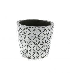 SPRING - Cache-pot rond Céramique Blanc à motifs D13.7 x H12.5cm par6