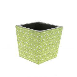 SPRING - Cache-pot carré Céramique Vert à motifs L11 x P11 x H10.5 cm