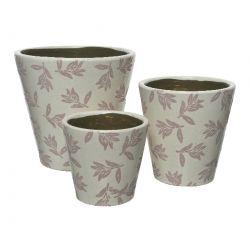 ROMANCE - Cache-pots Terre cuite Blanc/rose D19 x H18.25 cm par 3