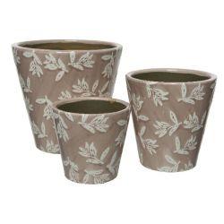 ROMANCE - Cache-pots Terre cuite Rose/blanc D19 x H18.5 cm par 3