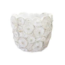 SHELL - Cache-pot Ciment Blanc D14 x H13 cm par 4