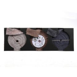 Rubans en jute assortis gris/naturel/blanc 5 cm x 10 m