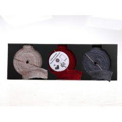 Rubans en jute assortis gris/rougel/blanc 5 cm x 10 m