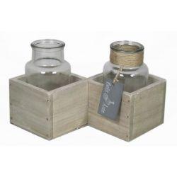Cadre bois avec bouteille par 2 D18x9 x H13 cm