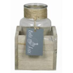 Cadre bois avec bouteille D9x9 x H13 cm