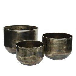 IJO - Cache-pots Zinc Brun antique D28 x H20 cm par 3