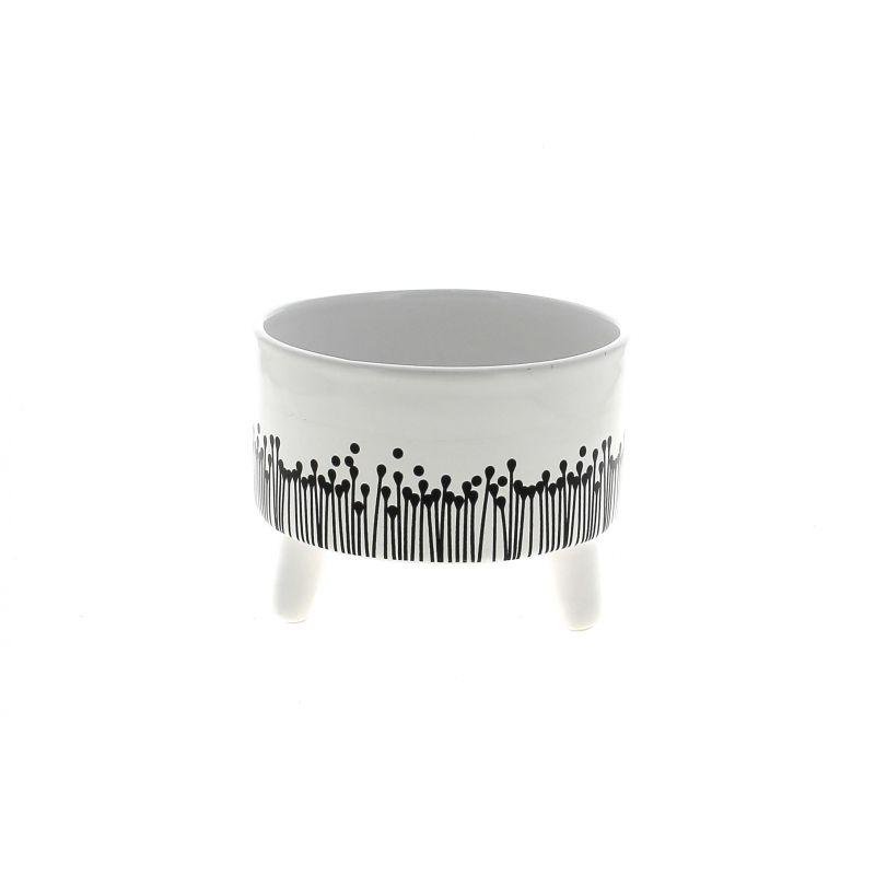 LIU - Cache-pot Céramique sur pieds Blanc Motifs noirs D15 x H11.5 cm