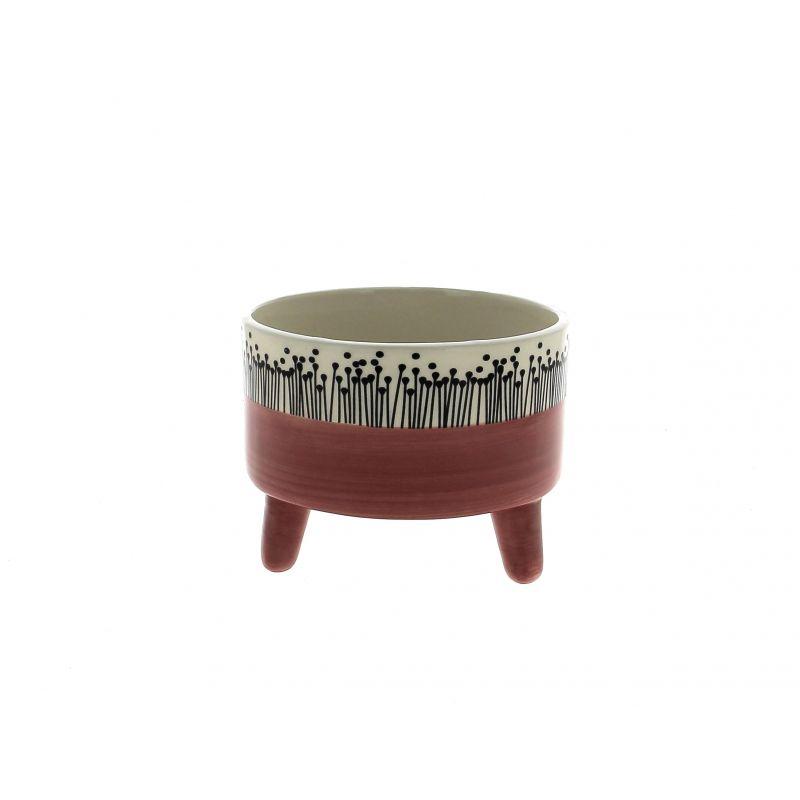 LIU - Cache-pot Céramique sur pieds Bicolore Framboise D15 x H11.5 cm