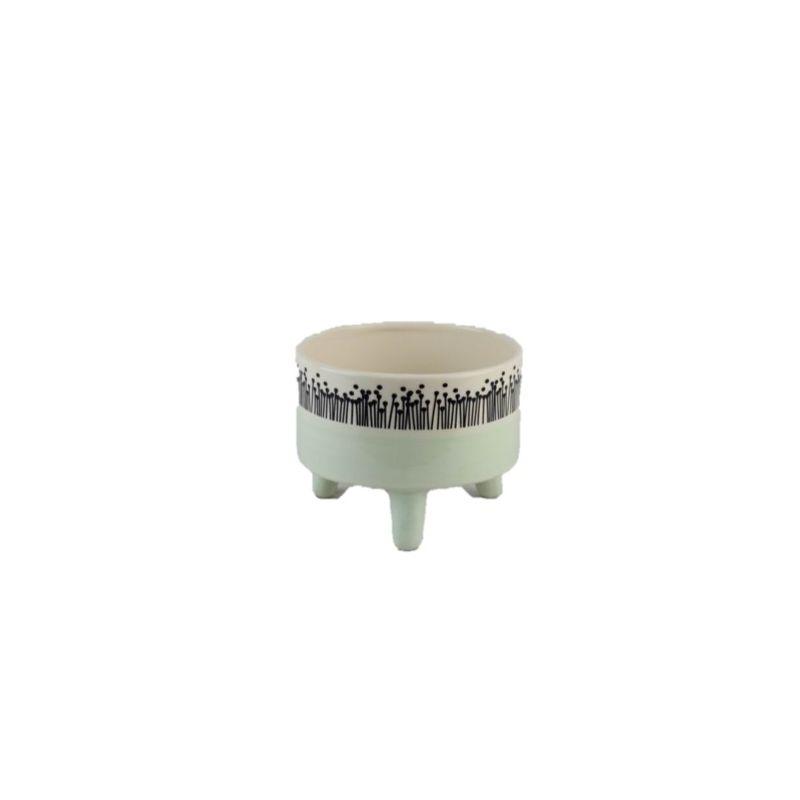 LIU - Cache-pot Céramique sur pieds Bicolore Vert D15 x H11.5 cm