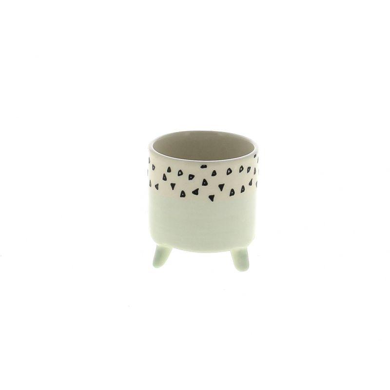 LIU - Cache-pot Céramique sur pieds Bicolore Vert D7.2 x H7.8 cm