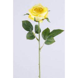 Rose sur tige 6 feuilles Jaune H37 cm