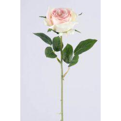 Rose sur tige 6 feuilles Rose clair H37 cm
