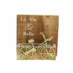 Jardinière Cadre Bois La vie est belle Vert L20 x H20 cm