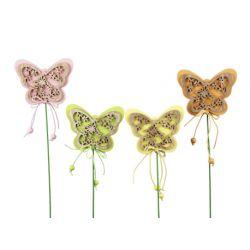 Piques Bois Papillons Ass. L7,5 8 cm x H6 cm par 8