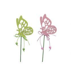 Piques Bois Papillons Ass. H8 cm par 12