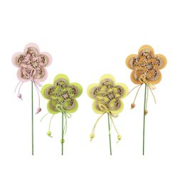 Piques Bois Fleurs Ass. L7,5 cm x H7 cm par 8