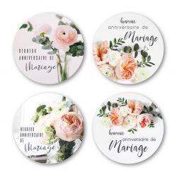 ANNIV MAR - Etiquettes Voeux Assort. par 500 Anniversaire Mariage