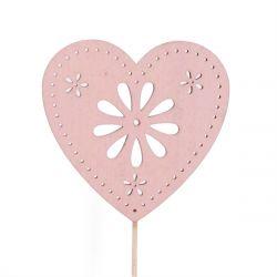 FLOWER - Pique Coeur Rose H10 cm par 10