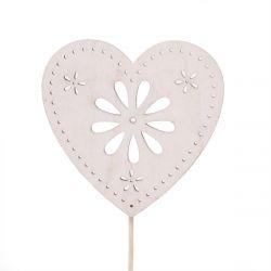 FLOWER - Pique Coeur Blanc H10 cm par 10