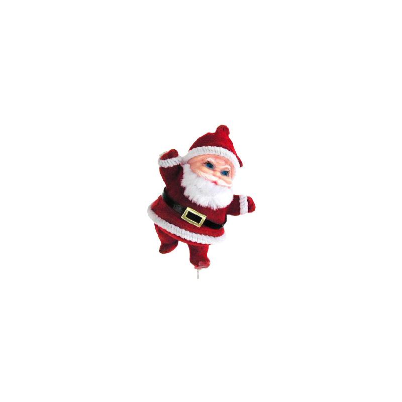 Père-Noël flocké d5 cm sur tige par 12