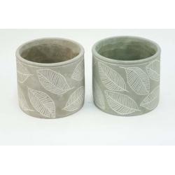 FEUILLE- Pot Ciment motif...