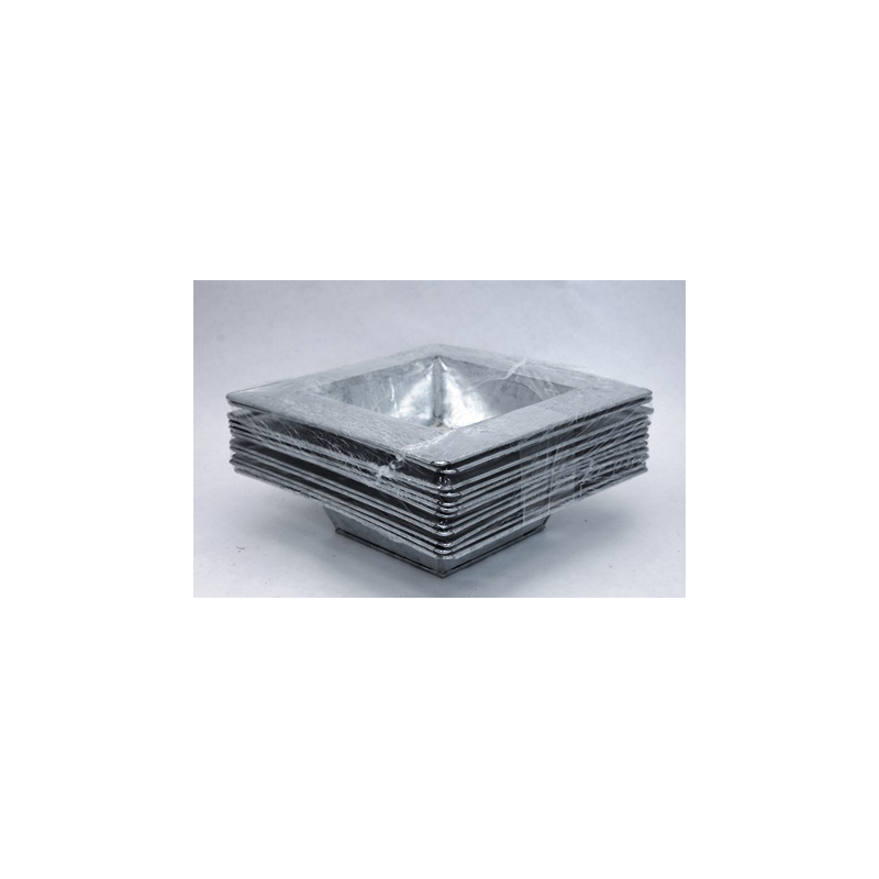Coupe Zinc Carrée Naturel 16x16x5 cm par 12