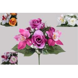 Bouquet roses, orchidées...